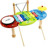 Moukey Xylophone Set Kids Musical Instrument Pack Toddler Toy With Bright Multi-Colored Keys and Wooden Mallets,Triangle,Cymbal,Drum