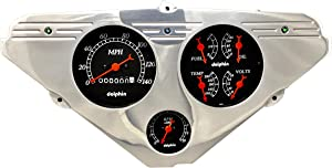 Dolphin Gauges 1955 1956 1957 1958 1959 Chevy Truck 3 Gauge Rear Mount Quad Style Mechanical Dash Panel Insert Cluster Black
