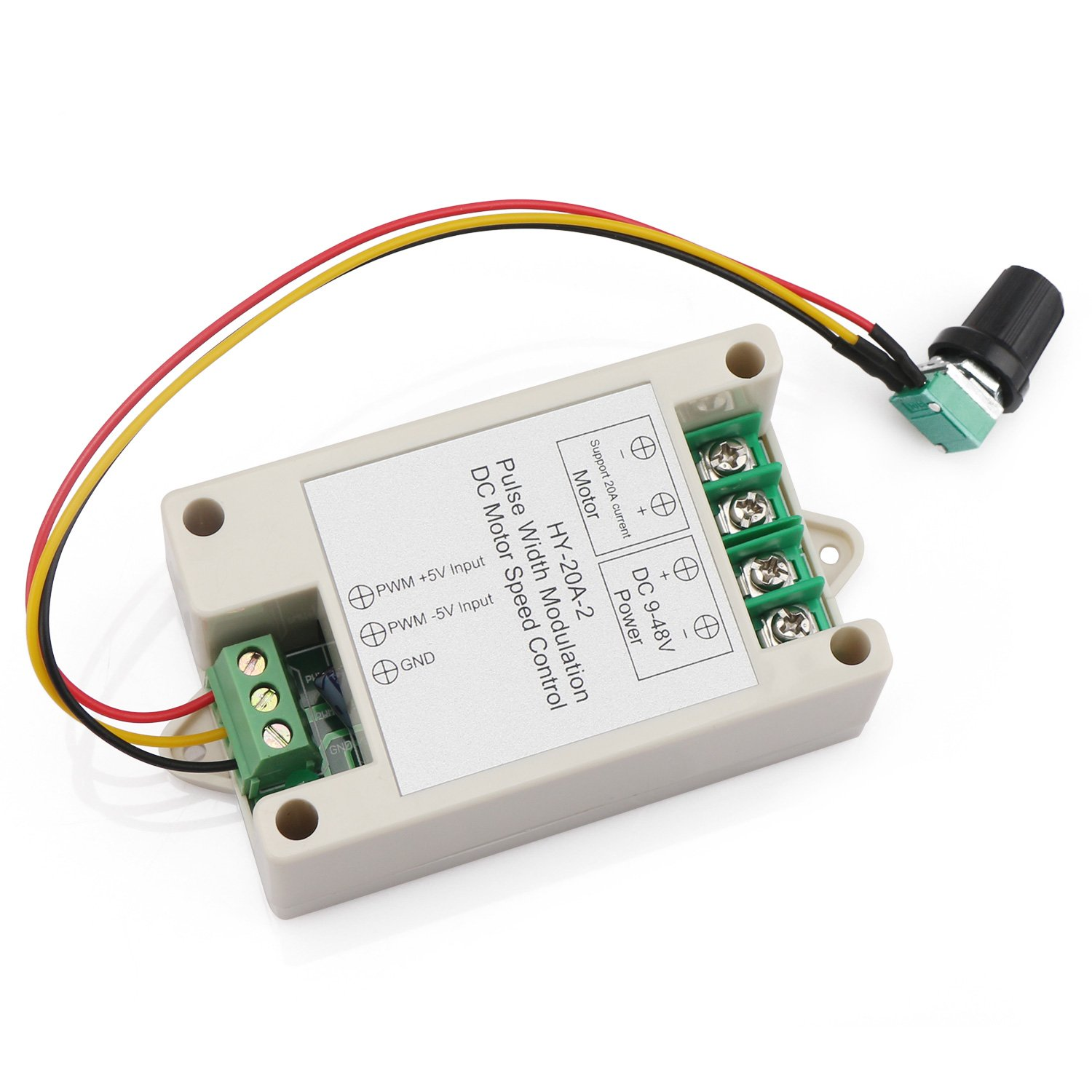 DROK DC 9-48V 16KHZ PWM Electric Motor Speed Controller, Small 20A DC Motor  Controller with Sensitive Knob, Support 0-5V Frequency Converter Input