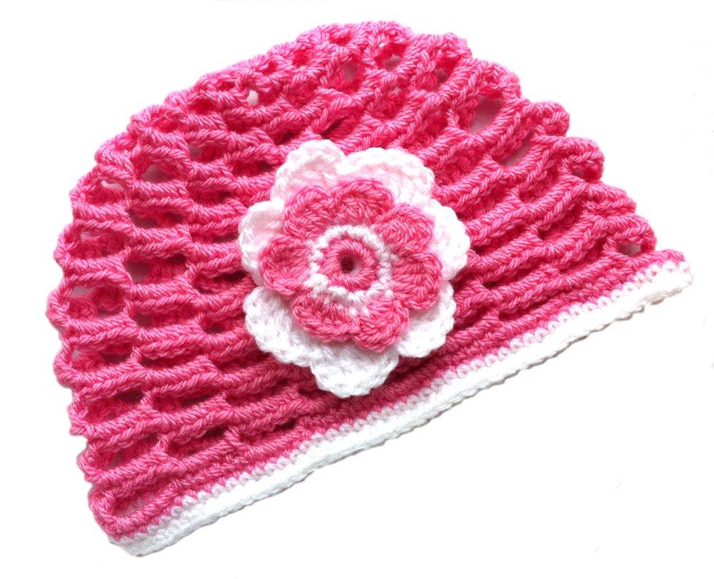 POM KIDS Crochet Beanie Contrast OP Hat with Flower : Pink