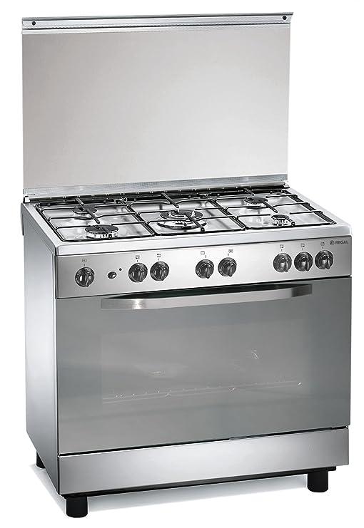 Cocina de gas 90x60x85 cm inoxidable con 5 quemadores y horno ...