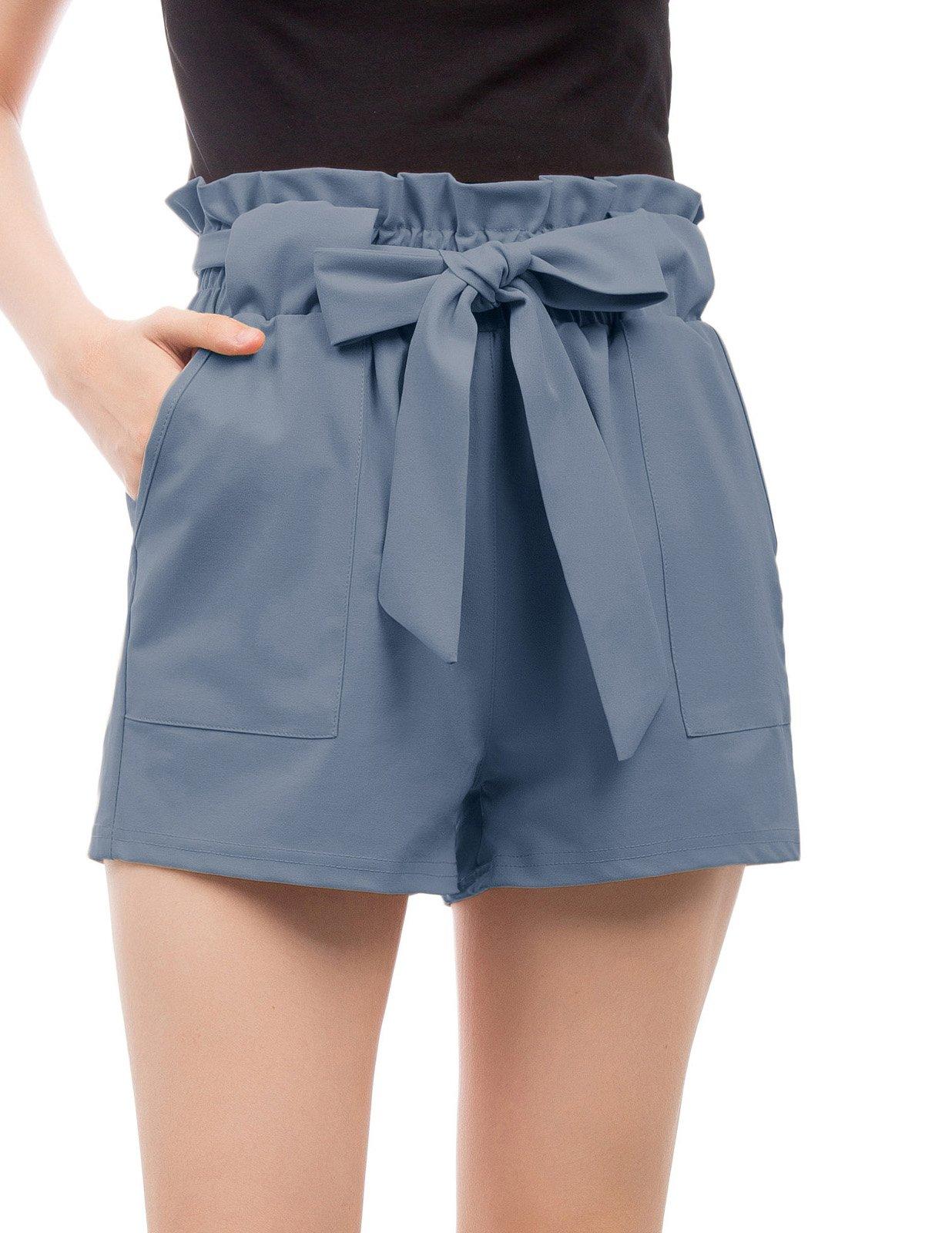GRACE KARIN Women's High Waist Casual Frill Bowknot Shorts M Gray Blue-2