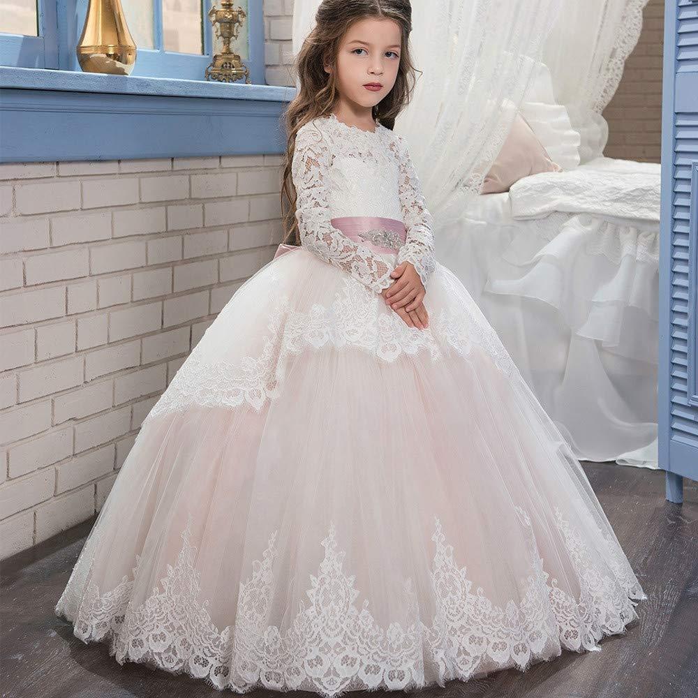 4-5T Maybesky Robe pour Enfant Double Dentelle Manches Longues Hiver Balle Fille de Fleur Robe de mariée Pettijupe Anniversaire fête Longue Robe de Bal (Taille   10-11T)