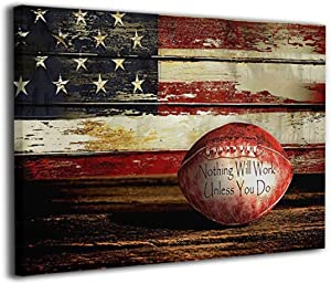 Retro American Flag Football Sports Artwork Giclee Patriotic Concept Canvas Prints Framed Picture For Adult Living Room Bedroom Painting Wall Decor 12x16 Inch