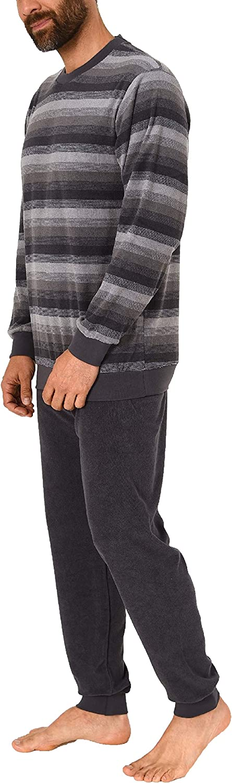 Herren Frottee Pyjama Schlafanzug mit B/ündchen in Streifenoptik 291 101 93 755