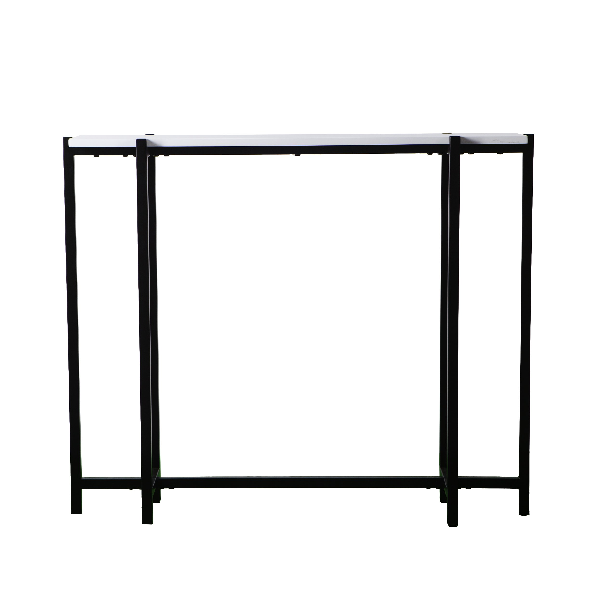 Narrow Skinny Console Table - Black Metal Frame w/White Top - Modern Entryway by Furniture HotSpot