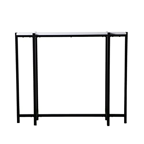 Narrow Skinny Console Table Black Metal Frame w White Top – Modern Entryway