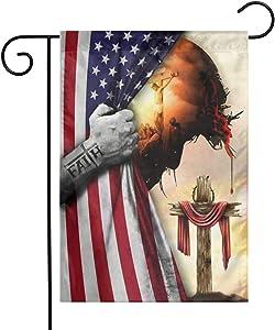 Guvaola God Jesus Christian Cross Faith American 12 x18 Inch Floral Garden Yard Flag, Banner for Home Decorative House Yard Sign