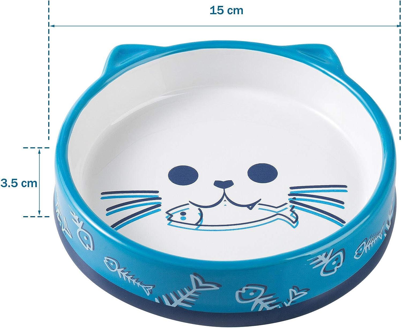 Yangbaga Comedero para Gatos con Posavasos de Bamb/ú Ceramica Antideslizante,Gran Cuenco para Gatos Mascota Azul