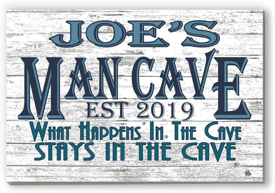 Broad Bay Man Cave Sign Personalized Name - Hanging Wall Art Decoration Customized Gift for A Man Him Men Father Dad Husband or Grandfather