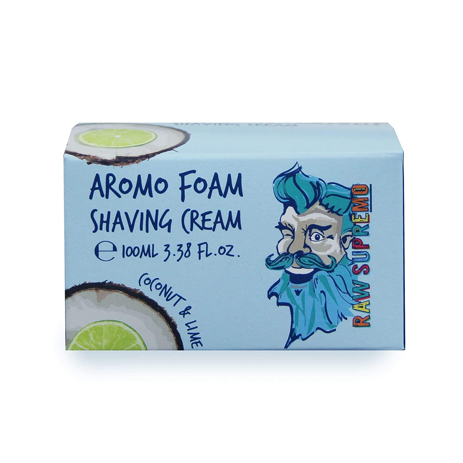 Raw Supremo Aromo Foam Shaving Cream 100ml Coconut & Lime Fragrance Mens Shaving Preparation