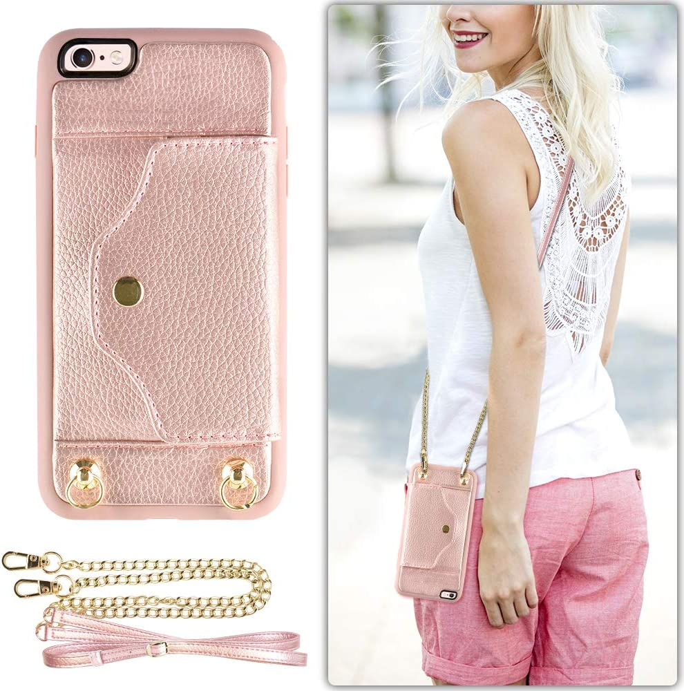 "iPhone SE2, iPhone 7 8 Wallet Case with Card Holder Slot, LAMEEKU Shockproof Leather Case, Portable Crossbody Case with Chain Strap and wristlet for Apple iPhone 7 / iPhone8 /IPhone se2 4.7"" Rose Gold"