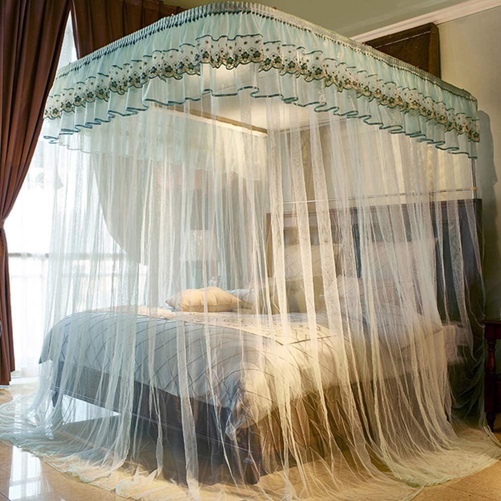 姫ベッドキャノピー,の-形の刺繍 防蚊ネット ヨーロピアンスタイル 1のためのステンレス鋼サポートが付いている暗号化糸のベッドのカーテン.5 1.8 M ベッド-f
