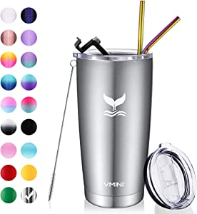 Vmini 20 oz Tumbler with Straws and Lids, Ice Coffee Tumbler, Travel Mug Vacuum Insulated Coffee Beer Pint Cup - Stainless Steel