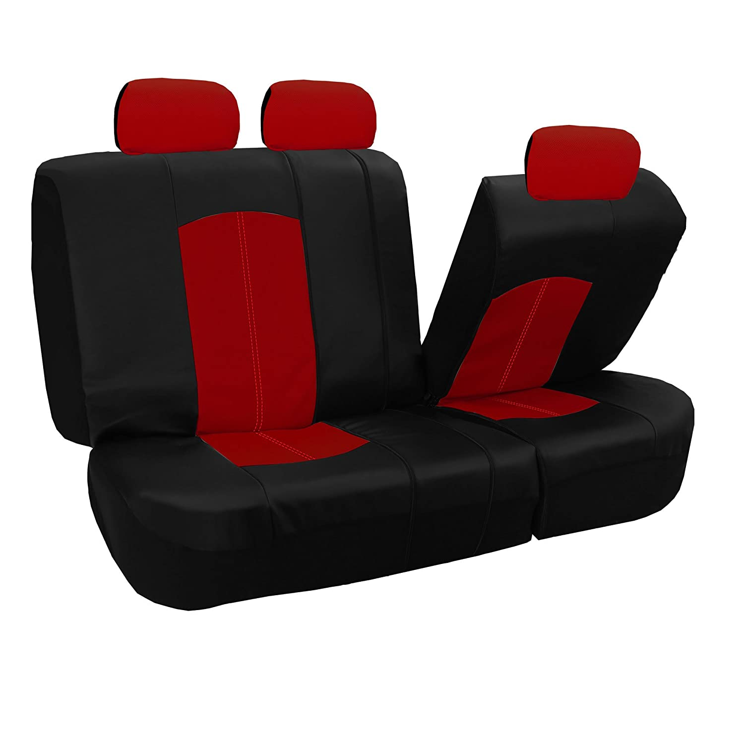 Perforated Leatherette Airbag Compatible and Split Bench Ready Gray FH Group PU008GRAY115 Full Set Seat Cover