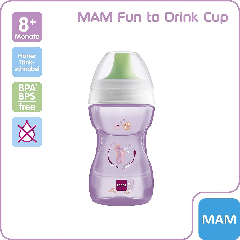 Schnabelbecher f/ür den /Übergang zum Glas Trinklernbecher mit ergonomischer Form violett 8+ Monate MAM Fun to Drink Trinkbecher 270 ml