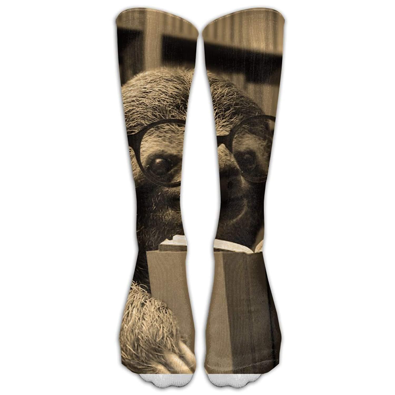 Sloth Reading Books Knee High Long Socks Athletic Tube Stockings For Football