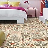 livingfloor® PVC Revêtement de sol Shabby rétro aspect carrelage Mediterran Rouge 2m de large Longueur variable Mètre