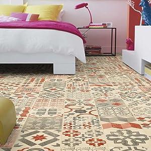 livingfloor® PVC imitación de suelo de baldosas de Shabby Retro Mediterran Rojo 2 m ancho, longitud variable Metro