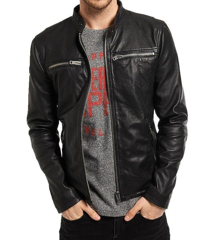 Laverapelle Men's Lamb Skin Real Leather jacket Black- 1510646