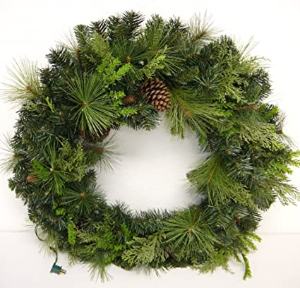 lighted christmas outdoor 36 mixed pine and pinecone wreath