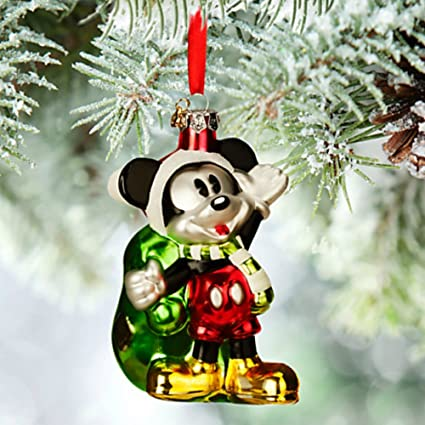 disney santa mickey mouse glass sketchbook christmas ornament