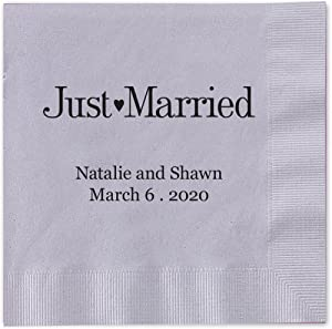 """Canopy Street Just Married Personalized Cocktail Napkins / 100 Silver Gray Paper 4 ¾"""" x 4 ¾"""" Beverage Napkins with Choice of Foil"""