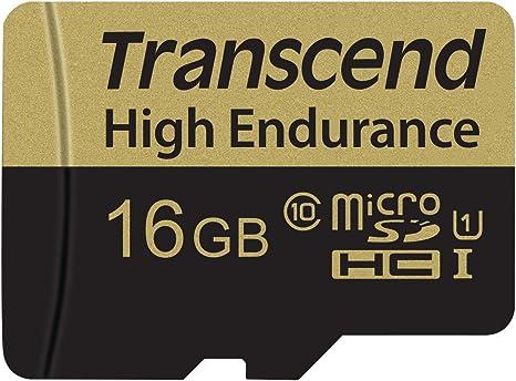 TALLA 16 GB. Transcend 16GB microSDHC Memoria Flash Clase 10 MLC - Tarjeta de Memoria (16 GB, MicroSDHC, Clase 10, MLC, 21 MB/s, Negro, Plata)