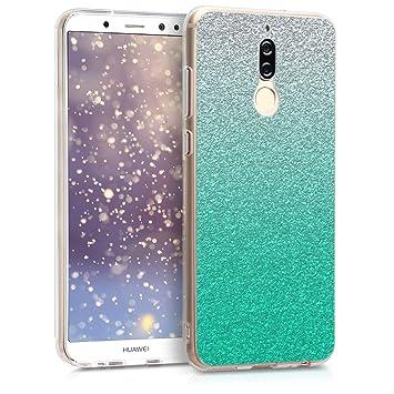kwmobile Funda para Huawei Mate 10 Lite - Carcasa de [TPU] para móvil y diseño Degradado de Purpurina en [petróleo/Plata/Transparente]