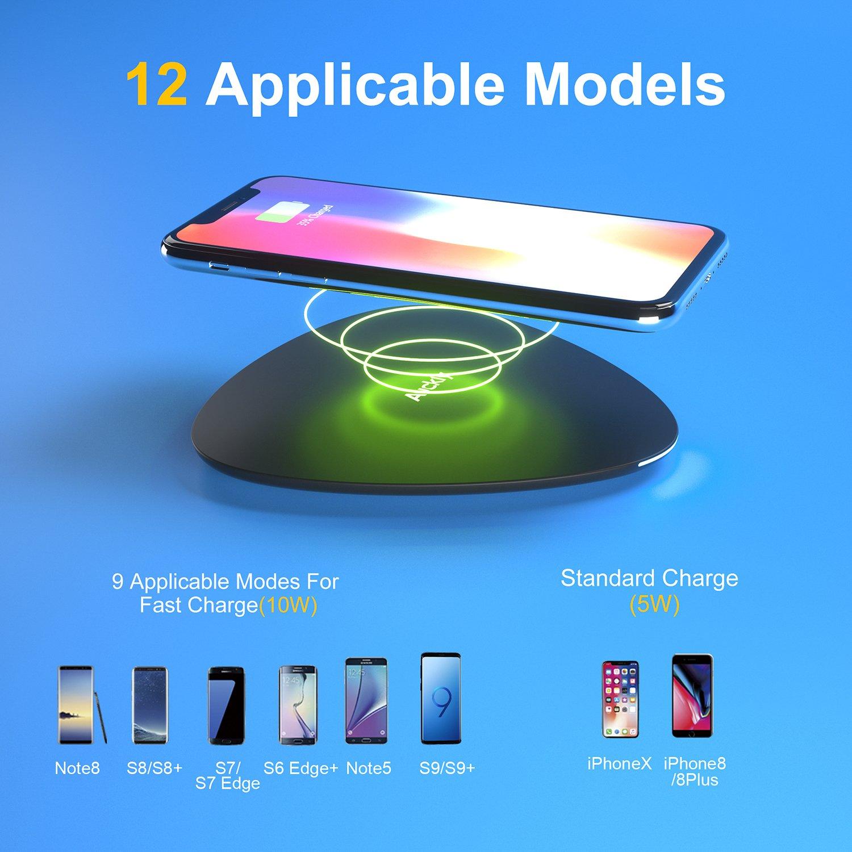Chargeur sans fil rapide, Auckly 10W Qi Pad chargeur sans fil à induction rapide pour iPhone X / 8/ 8 Plus, Galaxy S9 / S9+ / S8/ S8+/ S7 / S7 edge / S6 edge+, Xiaomi mix 2s, LG et autres Compatibles Qi