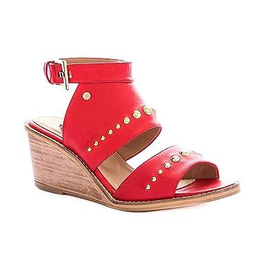VELEZ Women Genuine Colombian Leather Wedge Heels Open Toe Platform Ankle Strap Peep Toe Sandals |