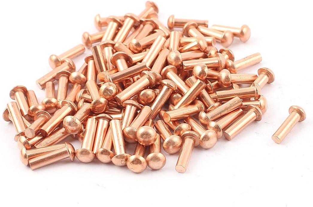 "50 Pcs 1//8/"" x 5//8/"" Round Head Copper Solid Rivets Fasteners"