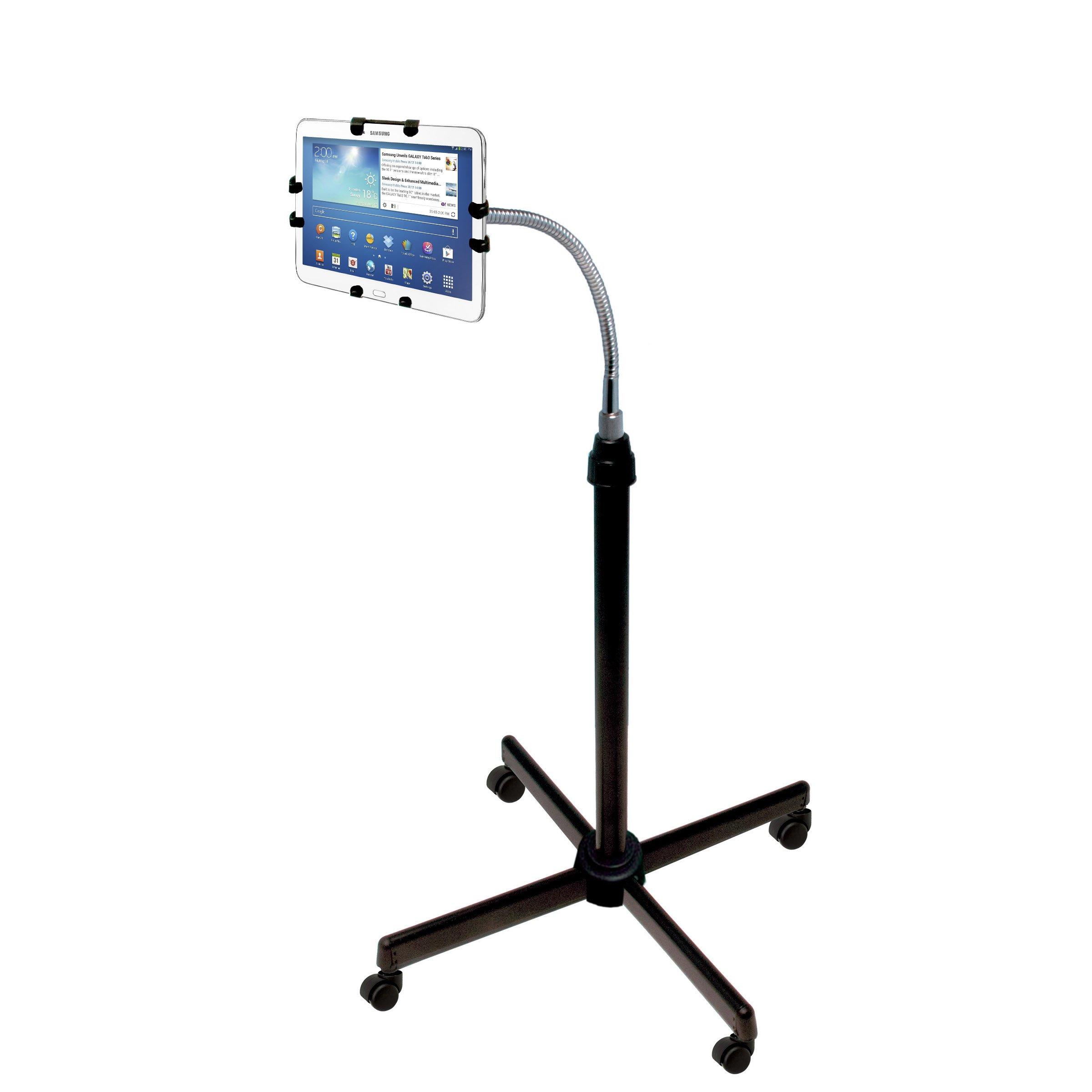 CTA Digital Height-Adjustable Gooseneck Floor Stand for 9.7–10.5 inch Tablets – iPad Air 1–2 / iPad 2–4 / Galaxy Tab S (PAD-UAFS)