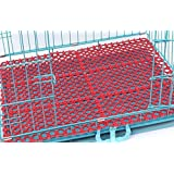 3Pack Mat for Bunny Rabbit Cage, Plastic Hole Design Splice Water Leak Pet Feet Pad Holder, Make a wire-floored cage comfortable (Red)