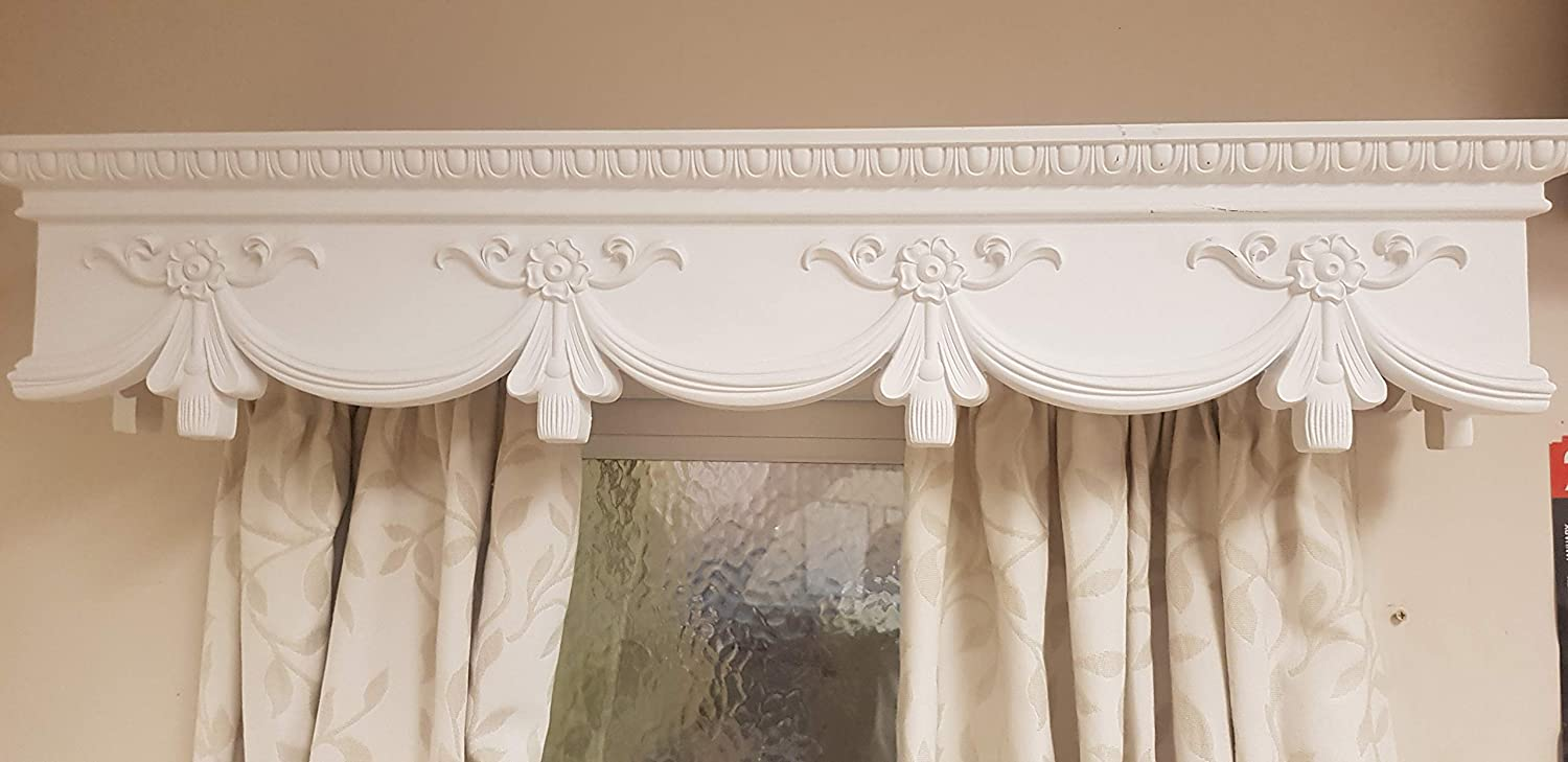 Curtain Box Valance Pelmet Window Cornice Swag Crown Canopy Cover Victorian 6 Feet 72 Inches 183cm X 18 5cm X 18 5 Cm Easy Fit Amazon Co Uk Kitchen Home
