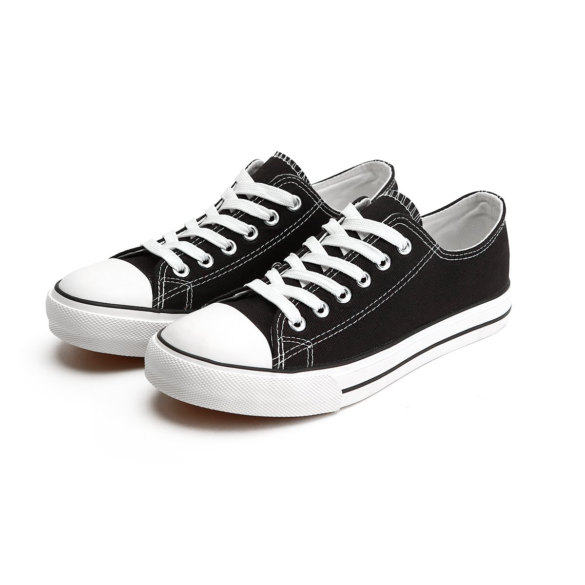 da3b885b8cc6 ZGR Women s Canvas Low Top Sneaker Lace-up Classic Casual Shoes Black and  White