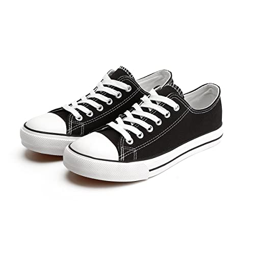 e783f78c82f44 ZGR Women's Canvas Low Top Sneaker Lace-up Classic Casual Shoes Black and  White