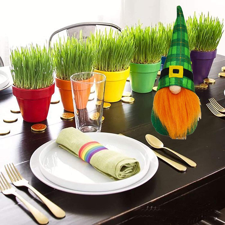 Medoore 2 Pack St Patricks Day Gnome Decorations Irish Leprechaun Swedish Gnome Ornaments Green Irish Leprechaun Tomte Gnomes Doll Elf for Home Decoration