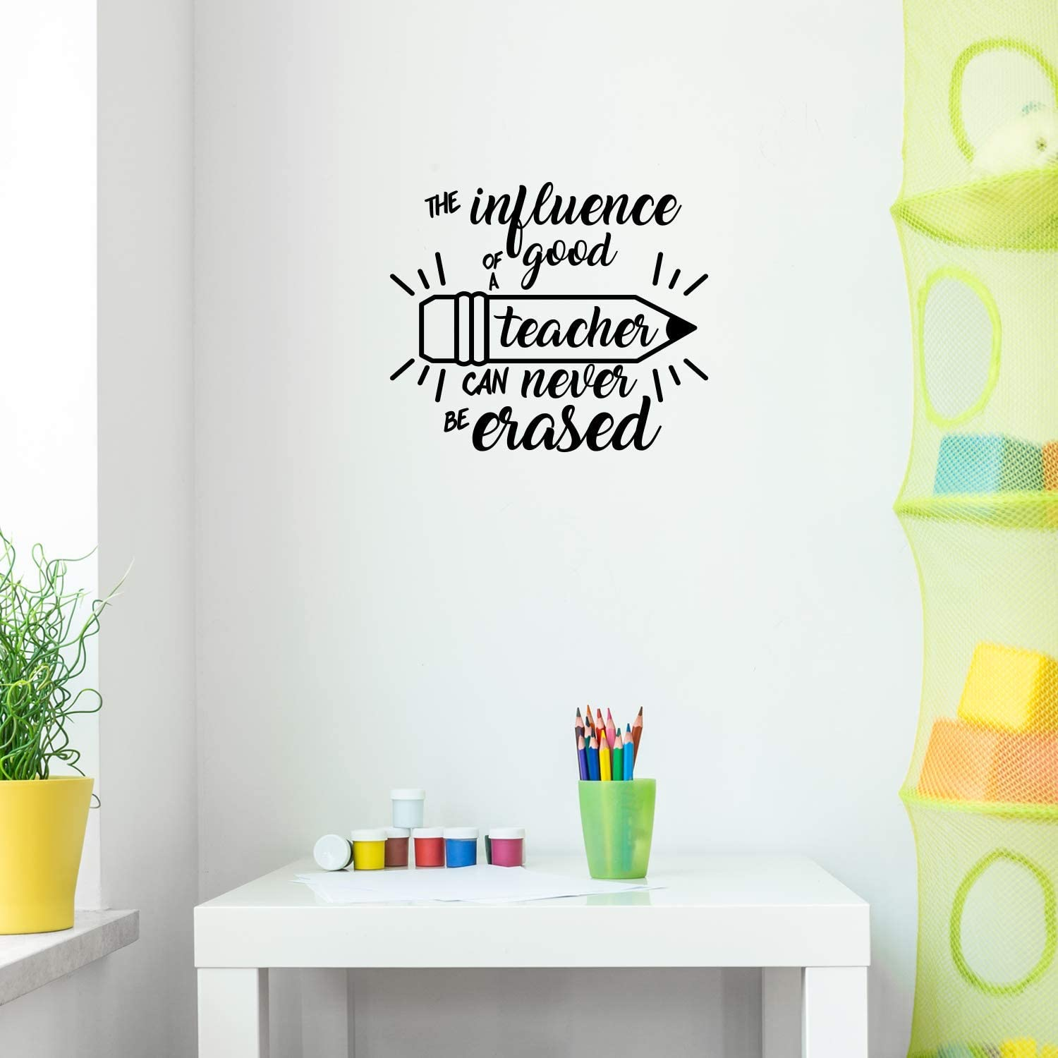 "Vinyl Wall Art Decal - The Influence of A Good Teacher Can Never Be Erased - 17"" x 20"" - Inspirational Teachers Quote for Home Bedroom Office Workplace School Classroom Indoor Decoration"