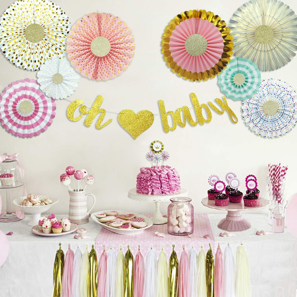 Amazon.com: Baby Shower Decorations for Girl with Oh Baby Banner Paper Fans  Princess Cake Topper and Tassels Kit Party Supplies (Pink Gold Cream 37  Pieces): ...