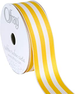 "product image for Offray 140428 Berwick 1.5"" Wide Wired Edge Carnival Grosgrain, 25 Yards, Yellow and White Stripe Pattern"