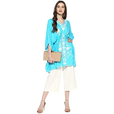 175e0d2f23 CRAFTBAZAR Women's Boho Embroidered Turquoise Kaftan Top (Free Size):  Amazon.in: Clothing & Accessories