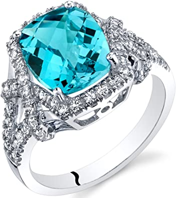 London Blue Topaz Diamond Accent Cocktail Band Ring Sterling Silver 925 Swiss