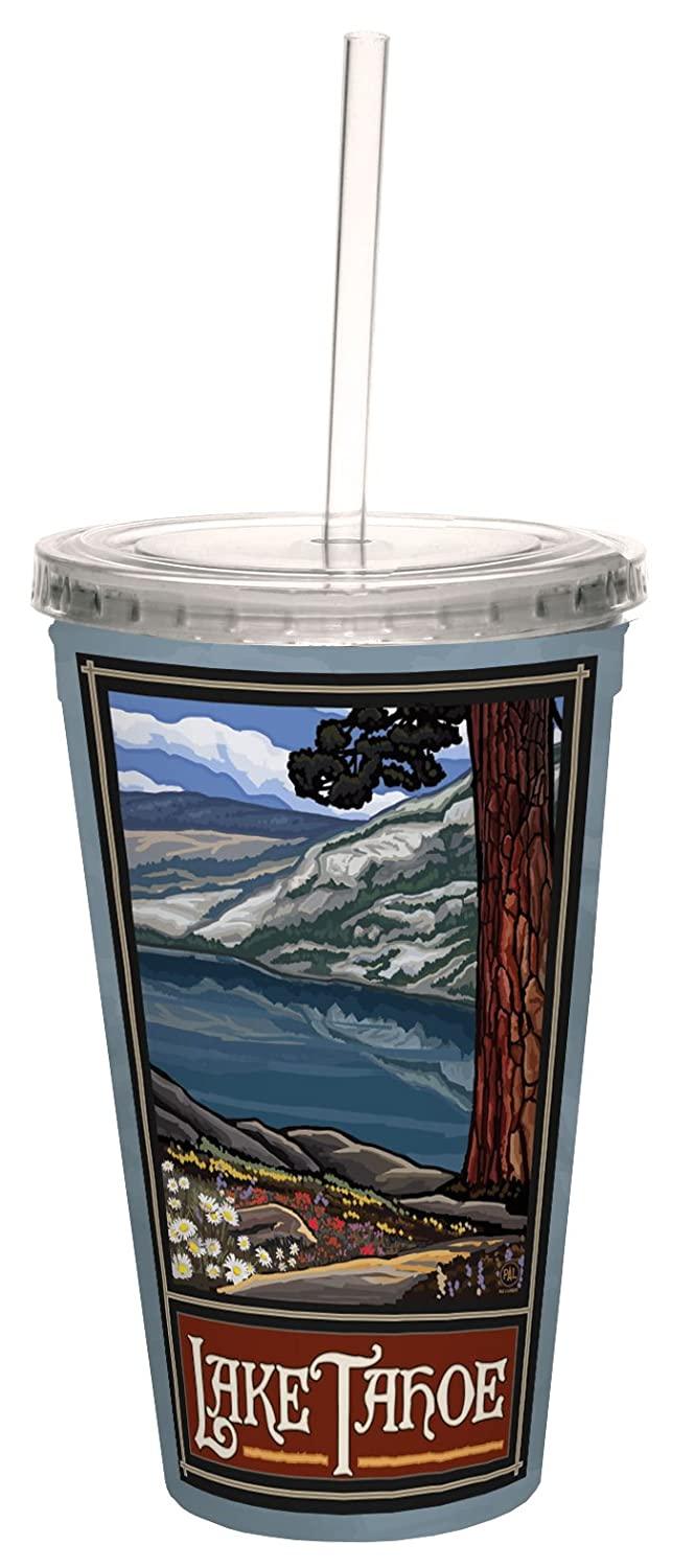 Multicolored 16-Ounce TreeFree Greetings 80388 Lake Tahoe Scenic by Paul A Lanquist Artful Traveler Double-Walled Acrylic Cool Cup with Straw