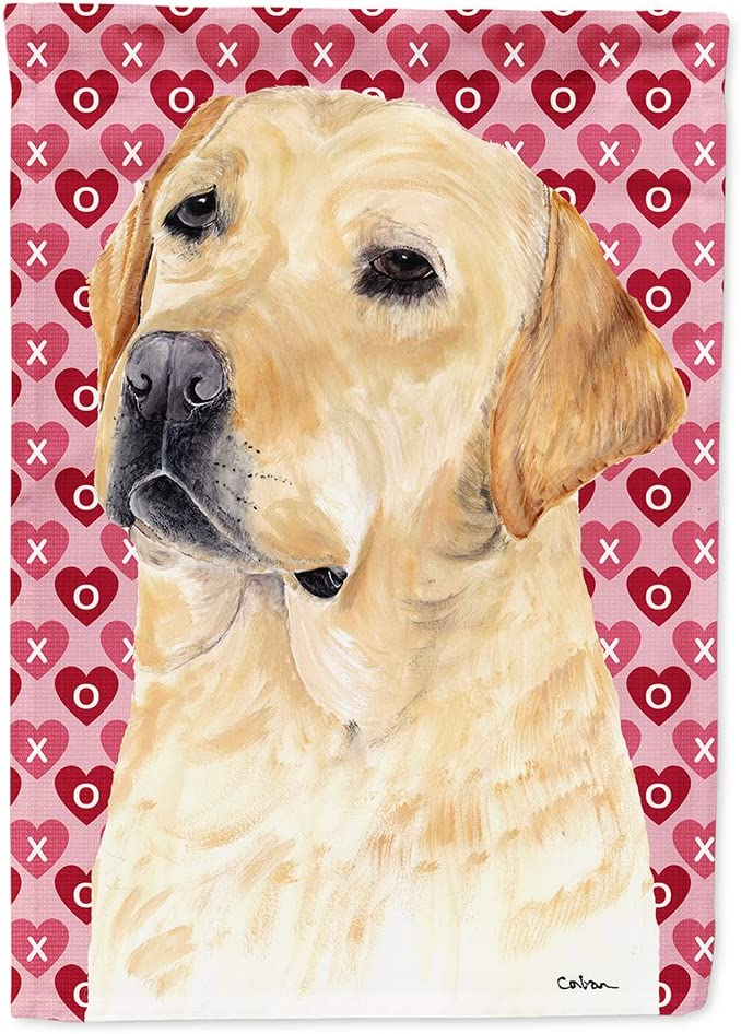 Caroline's Treasures SC9263GF Labrador Yellow Hearts Love Valentine's Day Flag Garden Size, Small, Multicolor