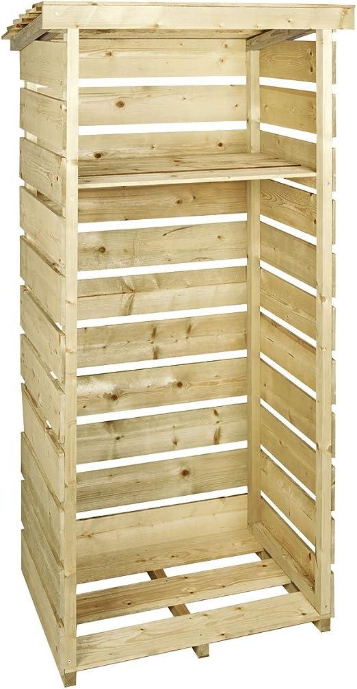 Armario alto madera individual Bentley registro leña Jardín Almacenamiento: Amazon.es: Jardín