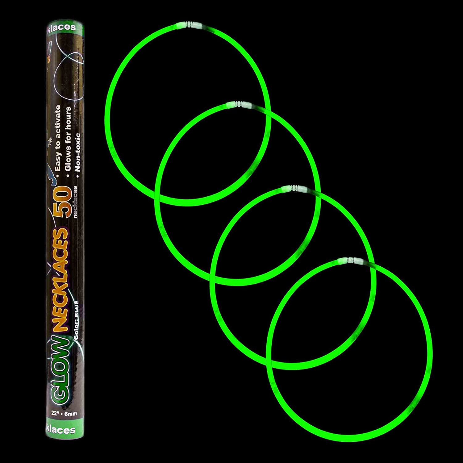 Fun Central S7 50ct 22 Inch Premium Glow Stick Necklaces Glow in the Dark Necklace for Neon Parties Glow in the Dark Parties Rave Parties Christmas Parties Halloween Parties New Year's Eve
