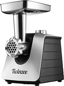 Twinzee Electric Meat Grinder and Sausage Stuffer for Ground Meat (Black) - Food Processor, Meat Grinder with 3 Metal Blades and 3 Sausage Attachments - Meat Grinder For Home Use
