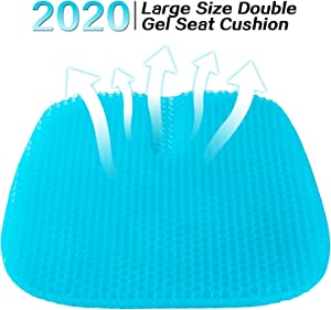 LUCKYLIFE Gel Seat Cushion 2020 Latest Large Size Double Seat Cushion for Office Chair Car Wheelchair, Pressure Relief Back Tailbone Pain