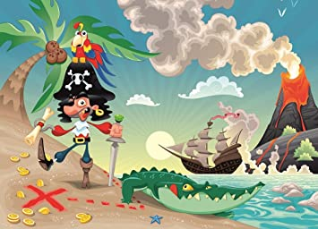 Kids Wallpaper   PIRATE AND PARROT U0026quot;PIRATES U0026quot;   Wall Mural  Nursery Decoration Part 58